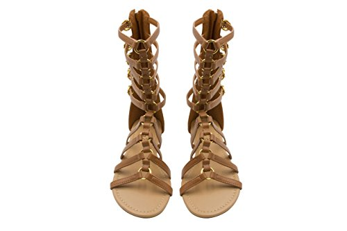 Sara Z Womens Tall Side Buckle Back Zip Flat Gladiator Sandal Size 7/8 Cognac (Buckle Side Sandal)