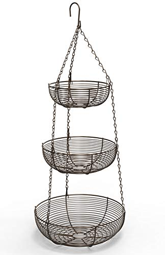 Caxxa 3-Tier Hanging Basket Fruit Organizer Kitchen Heavy Duty Wire (Bronze) ()