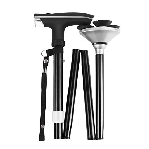 (CAMEL CROWN Folding Walking Cane for Men Women Collapsible Walking Stick with LED Light, Carrying Bag Adjustable Height (34