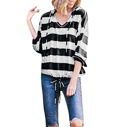 - Fshinging Womens Stripe Tops, Long Sleeve Pullover Tops Thin Hoodie Blouse Sweatshirt and Elastic Band(Black,M)