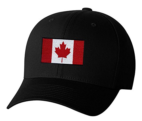 Canadian Flag Canada Pride Hockey Embroidered Hat 4 Colors - Black - OSFA Adjustable (Canada Hockey Hat)