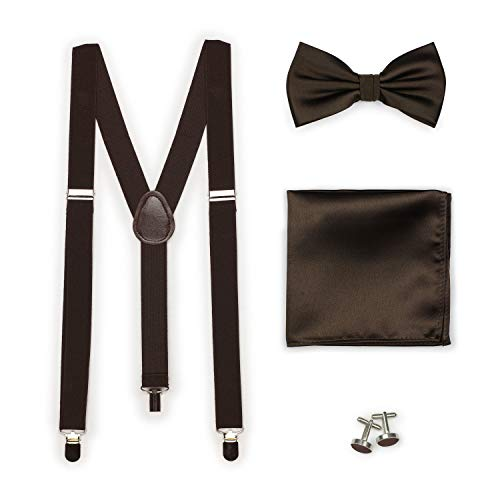 Bows-N-Ties Men's Set of Matching Solid Color Suspender, Bow Tie, Pocket Square, Cufflinks, Adjustable Length (Chocolate) (Bow Tie Solid Chocolate)
