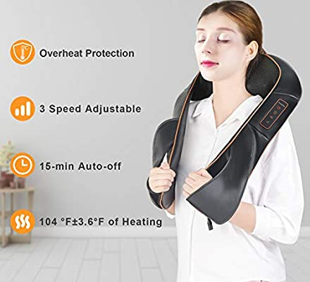 Shiatsu Back Neck and Shoulder Massager with Heat - Electric Massage Pillow with 3D Deep Tissue Kneading for Foot, Legs, Body Muscle Pain Relief - Home, Office & Car Use