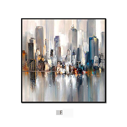 DEED Modern minimalist abstract city painting, triple living room sofa background wall decoration painting, dining room bedroom wall ()
