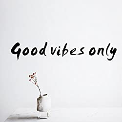 Delma PVC Wall Inspirational Family Words Quote Vinyl Family Wall Sticker Wall Decal Family Room Art Decoration (Good Vibes Only)