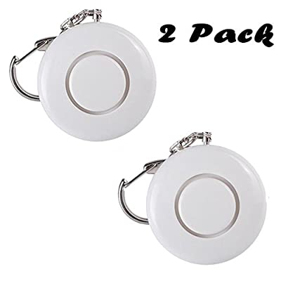 2 Pack 120dB White SOS Emergency Personal Alarm with Belt Clip for Elderly/Students/Night Workers/Women/Girls Safety Wolf Alarm Keychain