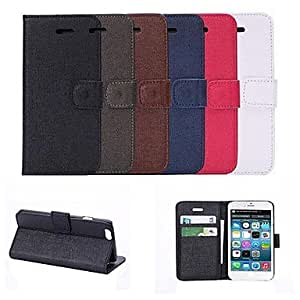 JJE Fashion Solid Color Design PU Full Body Case with Card Slot for iPhone 6 (Assorted Color) , Red