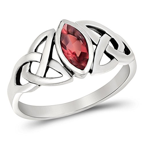 (Women's Celtic Weave Simulated Ruby Cute Ring New .925 Sterling Silver Band Size 9)