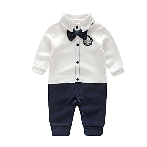 Newborn Boys Outfits - Fairy Baby Newborn Boy's Gentleman Romper Outfit with Bow Tie,0-3M,White Badge
