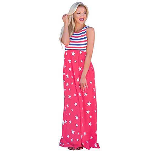 color De Chaleco Cuello Blue Largo Flojo Metro Star Verano Vestidos Stripe Wang Splice Pink Mujeres Redondo Ocasional Vestido Las Tamaño SZxaqw