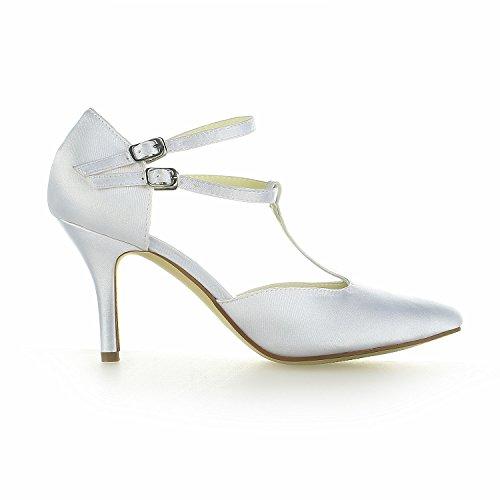 Bout Fermé T 8390b14 De En strap Argent Pompes Mariée Heels Pour Chaussures Satin Mariage Femme Jia UxBWYB