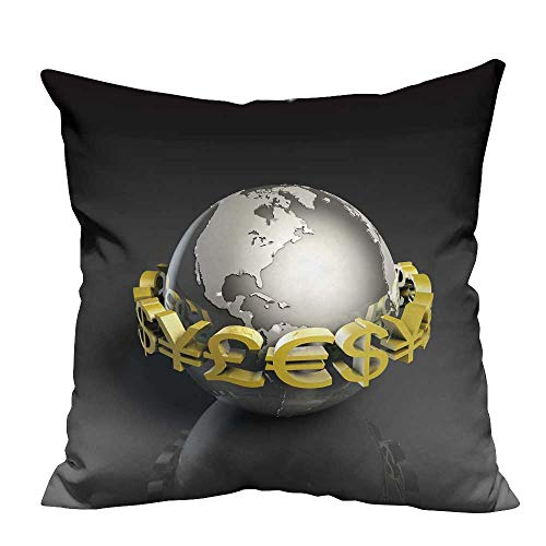 YouXianHome Pillowcase with Zipper Foreign Currency exch ge Stock Market as Concept Ultra Soft & Hypoallergenic (Double-Sided Printing) 20x20 inch ()