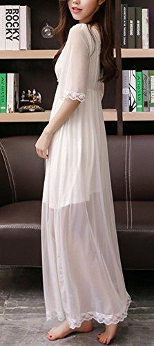 Asherbaby Women s Nightgown Cotton V-Neck Pajama Nightwear Long Sleeve  Vintage Sleepwear Lounge Dress d03db461e
