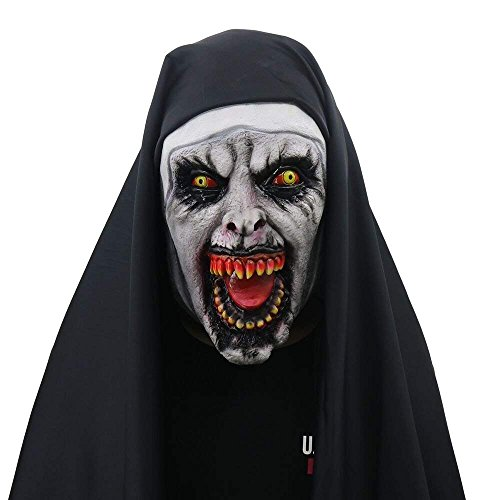 Nicexx Halloween Props The Conjuring 2 Devil Nun Horror Masks with Wimple Costume -