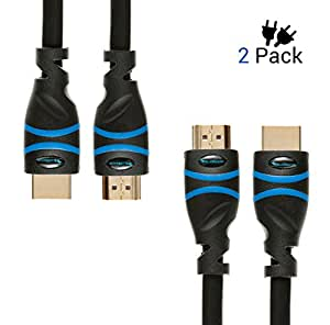 Cable HDMI de alta velocidad con Ethernet BlueRigger de 2m (Paquete de 2) – Soporta 3D y Retorno de Audio [Última Versión]