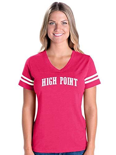 North Carolina State Flag High Point Traveler`s Gift Women's Football V-Neck Fine Jersey Tee (MHTP) Hot -
