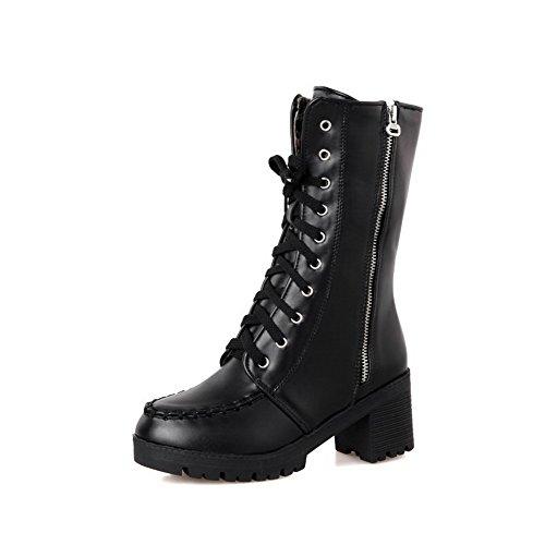 AllhqFashion Women's Kitten-Heels Low top Solid Zipper Round Closed Toe Kitten-Heels Women's Boots B01M7VT695 Parent 6a82eb