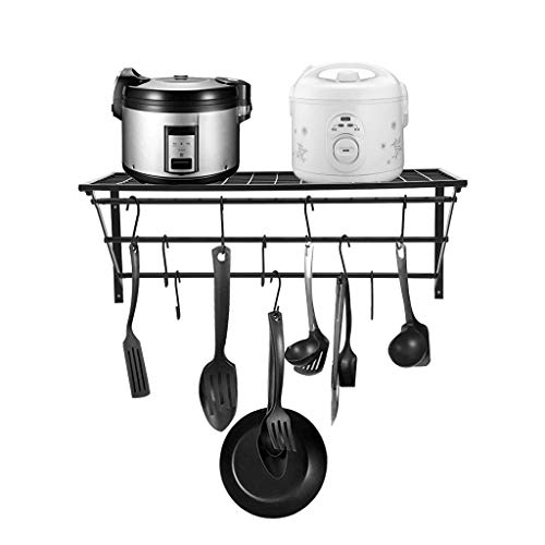 Beyonds Kitchen Racks, Wall Pot Pan Rack, with 10 Hooks, Black, Hanging Kitchen Pan Pot Rack Shelf Cooker Organizer Holder with 10 S-Shape Hooks, 23.6 x 9.45 x 9.84 inch