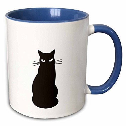 Cute Halloween Pictures Of Animals (3dRose PS Halloween - Cute Black Cat- Animals - 11oz Two-Tone Blue Mug (mug_164606_6))