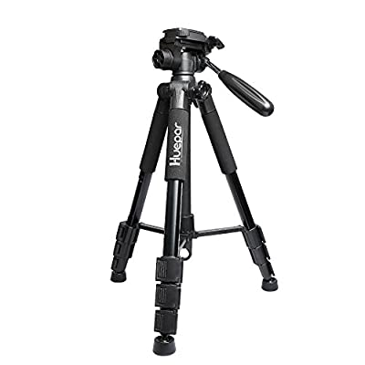 "Travel Camera Tripod Lightweight Huepar TPD14 56""/143cm Adjustable Laser Level Tripod with 3-Way Swivel Pan Head, Quick Release Plate with 1/4""-20 Screw Mount, Bubble Level, Multi-function Hook and 5/"