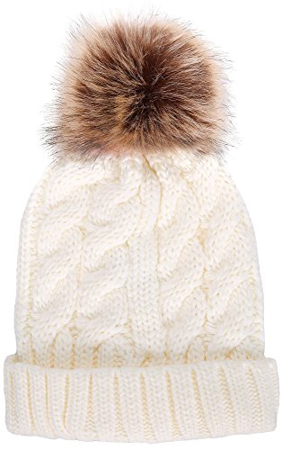Livingston Women's Winter Soft Knitted Beanie Hat with Faux Fur Pom ()