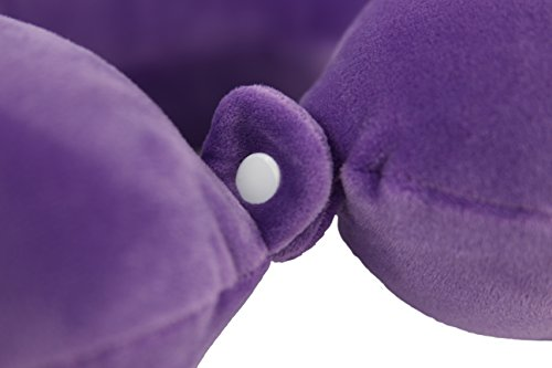 Memory Foam Travel Pillow - Neck Support on Airplane, Train, Bus, Car, Vacation - Maximum Comfort, Machine Washable (Purple) by Don Eastern (Image #2)