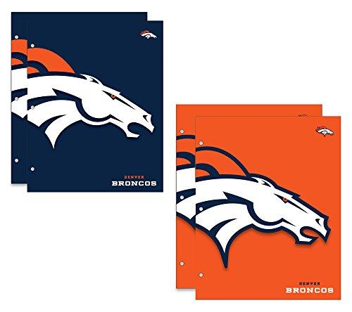 Denver Broncos NFL 2-Pocket School Folders, 4 Pack, 9.5
