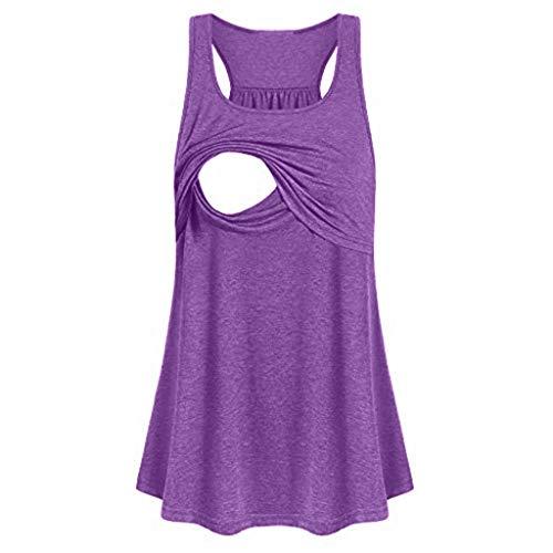 Tanks for Women Dainzuy Sleeveless Comfy Casual Maternity Loose Pull-Up Nursing Tank Tops Vest Breastfeeding Shirts Purple