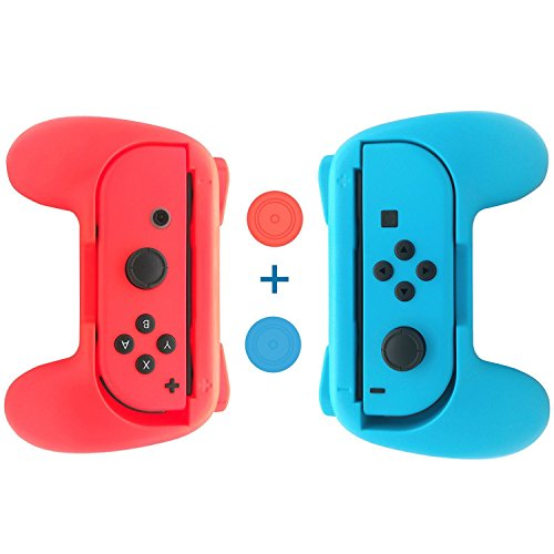 Nintendo Switch Joy-Con Grips Kit,Wear-Resistant Joy-con Thumb Grip case for Switch(Set of 2) - Blue and Red (Resistant Switch)