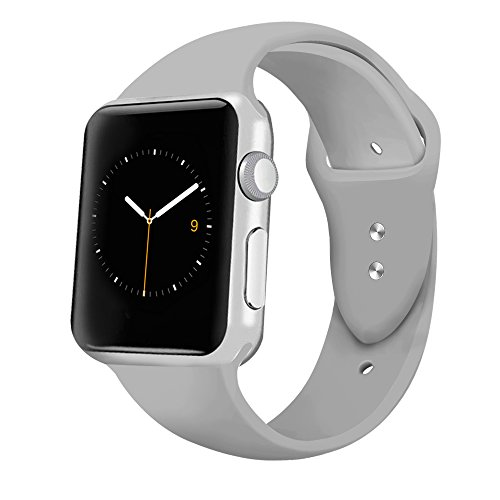 iGK Sport Band Compatible for Apple Watch 42mm, Soft Silicone Sport Strap Replacement Bands Compatible for iWatch Apple Watch Series 3, Series 2, Series 1 42mm Gray Large