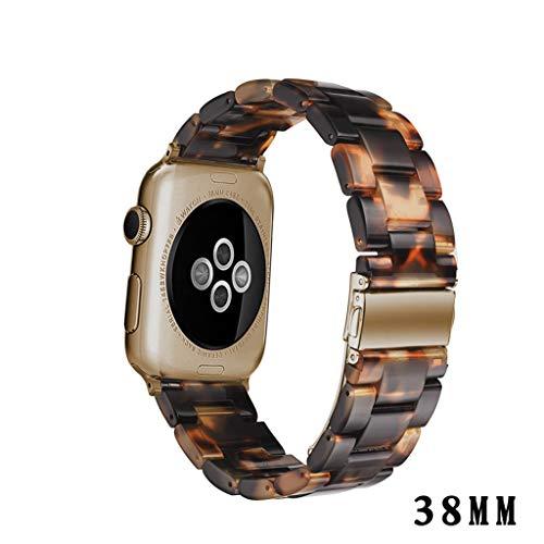 Larmly For Apple Watch 3/4 Luxury Tortoise Shell Resin Watch Bands Strap Bracelet Unisex 38mm(C)