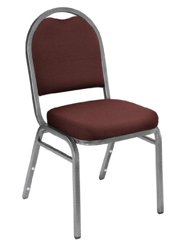 NPS 9258-SV-CN Fabric Dome Back Stack Chair with Steel Silvervein Frame, 300-lb Capacity, 18'' Length x 20'' Width x 34'' Height, Rich Maroon (Carton of 4) by NPS