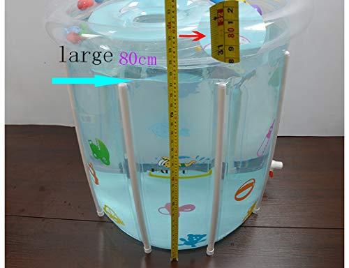 Newborn Baby Swimming Pool, Thick Inflatable Transparent Bracket Children Swimming Bucket, 0-3 Years Old Baby Bath Barrel, Water Saving Pool (80cmx80cm) floding bathtub by ESPERANZA (Image #2)
