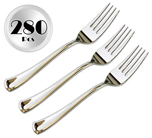 JL Prime 280 Piece Silver Plastic Forks Bulk Set, Silver Plastic Cutlery Set, Heavy Duty Utensils for Party & Wedding, Disposable Silver Flatware, Silver Plastic Forks 280 Pack