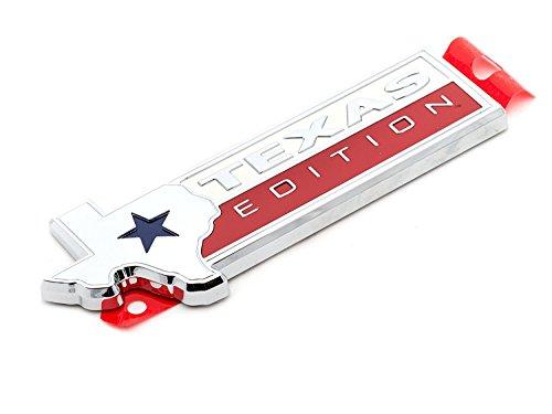 1x Texas Edition Emblem Metal State Flag Premium SUV Pickup Truck Logo Nameplate Silver