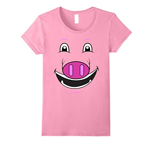 Female Pig Costume (Womens Pig Face T-Shirt | Funny Cute Animal Halloween Costume Medium Pink)