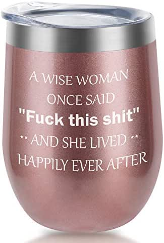 A wise woman|Supkiir 12 oz Wine Tumbler, Double Wall Vacuum Insulated Wine Glasses with Lid, Stainless Steel Cup for Wine, Coffee, Cocktails | Perfect Mother's Day, Christmas Gift