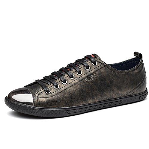 Scarpe Da Uomo Alla Moda Sneakers Casual In Vera Pelle, Allacciate In Metallo Design Punta Di Bronzo