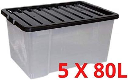 Home Storage King - Cajas de Almacenamiento de plástico con Tapa (80 L, Transparentes, con Tapas Negras), Color Negro, plástico, Transparente, 80L