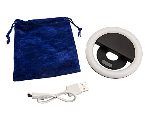 Arkon SPLEDRING Rechargeable LED Clip On Selfie Ring Light for Live Streaming Video Retail White