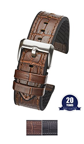 ain leather watch band with silicone lining - Brown - 22 mm (Genuine Alligator)