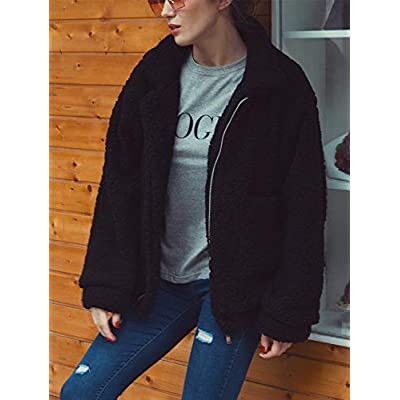 TEMOFON Women's Coat Casual Fleece Fuzzy Faux Shearling Fluffy Jackets Winter Long Sleeve Zip Up Outwear with Pockets S-3XL at Women's Coats Shop