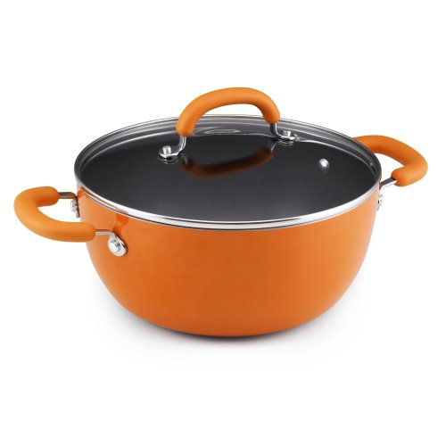 Rachael Ray Porcelain Enamel Nonstick 5.5-Quart Covered Round Casserole, Orange ()