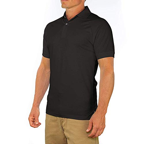 Comfortably Collared Men's Perfect Slim Fit Short Sleeve Soft Fitted Polo Shirt, Medium, Black