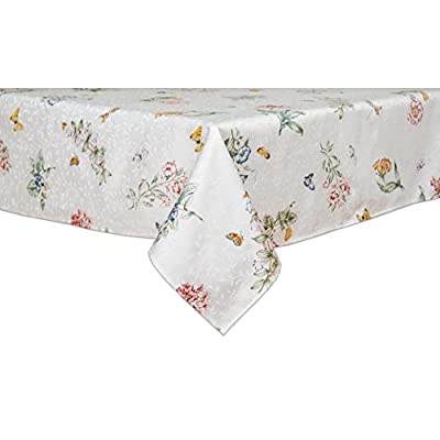 Lenox Butterfly Meadow 52-inch by 52-inch Square Tablecloth - Leave a lasting impression with Lenox 54% Cotton / 46% Polyester - tablecloths, kitchen-dining-room-table-linens, kitchen-dining-room - 41rQOm6xSVL. SS400  -