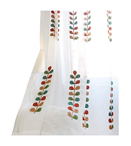 (ASide BSide Rod Pocket Top Leisure Type Permeable Window Decoration Sheer Curtains Multicolored Petals Embroidered For Sitting Room Houseroom and Kitchen (1 Panel, W 52 x L 84 inch, White))