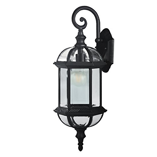 eTopLighting Contemporary Collection Outdoor Exterior Wall Lantern Light with Upturned Orientation, Beveled Clear Glass, and 8W 2700K Warm White LED Bulb, APL1406 (Contemporary Beveled Glass)