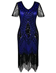 Black & Blue 1920s Sequin Art Dress with Sleeve