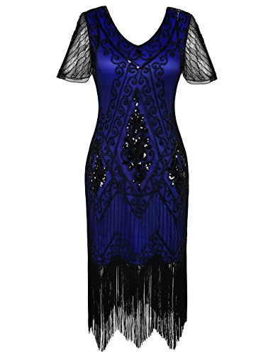 PrettyGuide Women's 1920s Dress Art Deco Cocktail Dress Short Sleeve XL Black Blue -