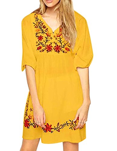 Mexican Embroidered Top (Peasant Blouse Mexican Embroidered Floral V Neck Long Blouse Tunic Top Dress (One Size, Yellow))